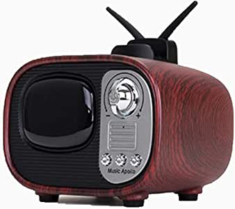 Portable Wireless Bluetooth Speaker, Creative Retro Imitation TV Small Audio Gift Audio,Walnutcolor
