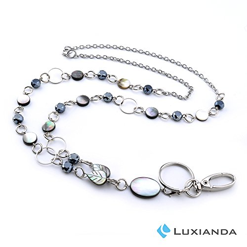 (LUXIANDA Elegance Badge Lanyards ID Necklaces ID Badge Holder for,Nurses and Other OL Stainless Steel Chain)