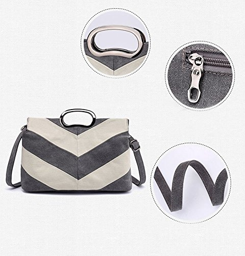 Women's Bags 23 Handle X for Size Practical Canvas Crossbody X 34 CM Wine Modern Tote Popluar Shoulder Striped and 12 Special Grey Medium Handbags Mental Handbags with Red Women 6Z8EwSgqn