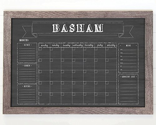 Large Wall Calendar, Command Center 36x24 , Family Calendar, Dry-erase calendar, chalkboard dry erase calendar, reusable, framed perpetual calendar, 2018 by Circle and Square Decor