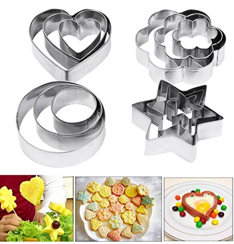 y Fruit Cutters, Amison 12 Pcs Metal Stainless Steel Heart Star Circle Flower Shaped Mould (Shaped Cookie Cutter)