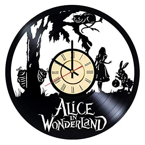 Alice in Wonderland Vinyl Clock Gift for Tim Burton Fans Rabbit Wall Decor Cheshire Cat Art Walt Disney Handmade Living Room Artwork