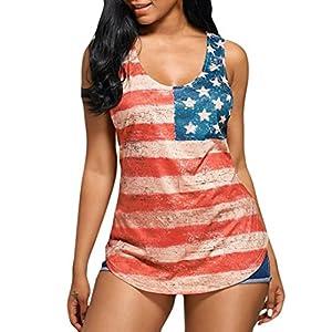 Women's Shirt,kaifongfu Women Lace Short Sleeveless Vintage Striped American Flag Print Lace Back Vest Top Blouse Shirt (XL, White)