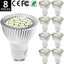 YouOKLight Pack of 8, AC85-265V 7.5W GU10 15-SMD 5630 LED Bulb - 60W Equivalent Incandescent 3000K Warm White 700Lumen 120 Degree Beam Angle, LED Spotlight Bulb Bi-pin Lights