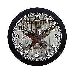 InterestPrint Western Texas Star on Rustic Old Barn Wood Modern Round Wall Clock Decorative Quartz Clock for Office School Kitchen Bedroom Living Room, Black
