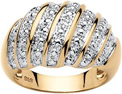 White Diamond Accent 14k Gold over .925 Sterling Silver Dome Ring