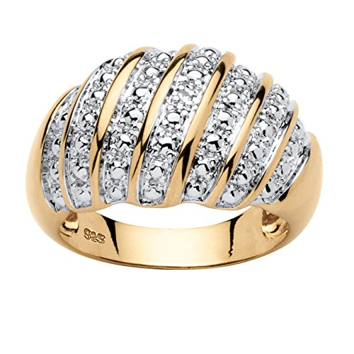 Palm Beach Jewelry White Diamond Accent 14k Gold Over .925 Sterling Silver Dome Ring Size ()