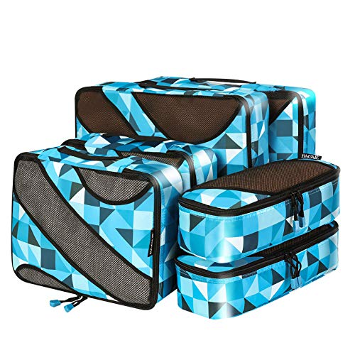 6 Set Packing Cubes,3 Various Sizes Travel Luggage Packing Organizers (Geometry)