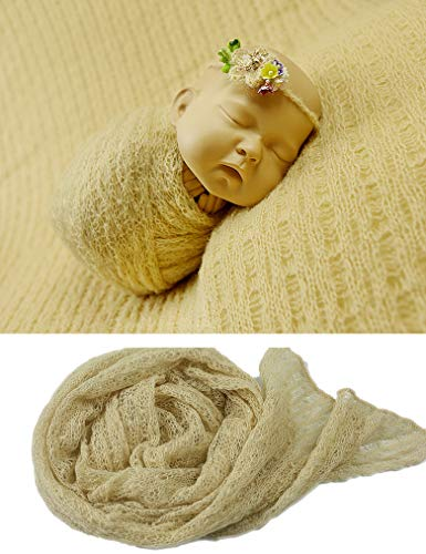 (infantacce Newborn Photography Props - Long Pattern Knit Mohair Stretchy Wrap Blanket Soft Wraps for Baby Photo Prop Receiving Blankets Acrylic Swaddle)