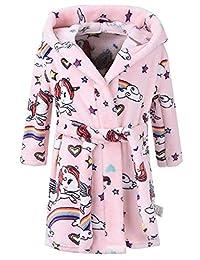 ZDUND Kids Girls Boys Bathrobes,Toddler Robe Hooded Fleece Bathrobe Pajamas Sleepwear