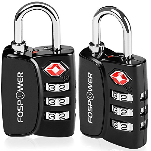 Luggage Locks TSA Approved, FosPower (2 Pack) Open Alert Indicator 3 Digit Combination Padlock with Alloy Body for Travel Bag, Suitcase, Lockers, Gym, Bike Locks or Other by FosPower