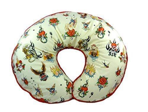 Nursing Pillow Cover Cream Biker Tattoos for Baby Boy or Baby Girl by Mommy's Little RockStar