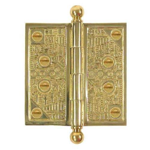 - Brass Elegans WC007PLB Solid Brass Windsor Design Decorative Door Hinge with Brass Screws, 3.5-Inch, Polished Brass