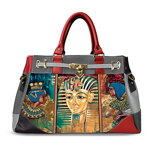 'Treasures Of Egypt' Handbag Stylish And Versatile Featuring A Zippered Main Compartment, 2 Interior Slip Pickets, Metal Feet And Charm Exclusively Available From The Bradford Exchange