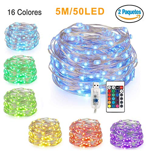 Glückluz Luces de Cadena LED USB 5M 50LEDs 16 Colores de Iluminación Guirnalda de Luces Decoración RGB Multicolor para...