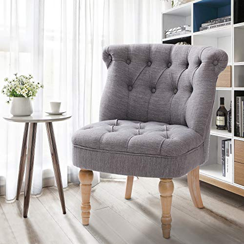 Finnhomy Furniture Accent Chair Tifted Armless Upholstered Chair Living Room Seat Side Chiar with ButtonTufts Grey