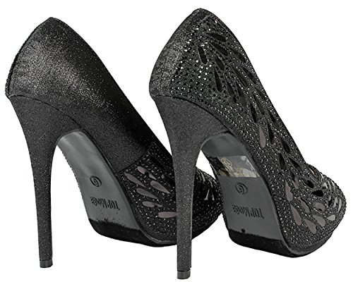 Bella Luna Myra Sparkle Crystal Gem Rhinestone Glitter Mesh Vestido De Noche Formal Bombas Black_a1