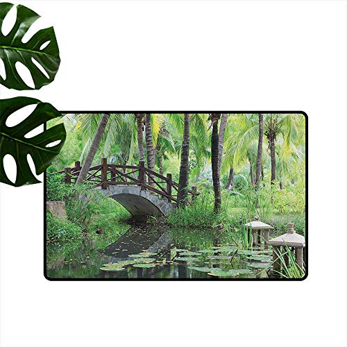 RenteriaDecor Zen Garden,Floor Rug Carpet Green Landscape in South China Palm Trees and Bushes Lush Growth Nature 36