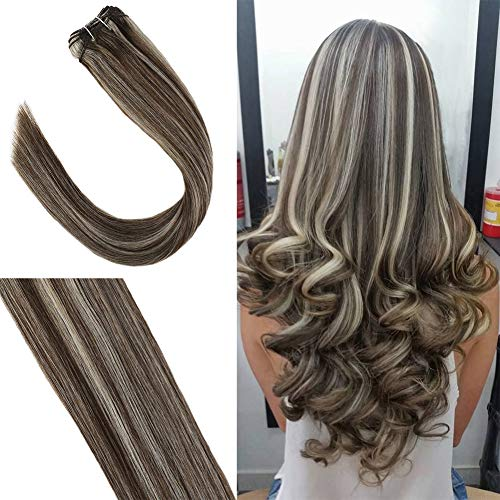 One Piece Bundle - Youngsee 22inch Remy Brazilian Human Hair Weave Weft Dark Brown with Blonde One Piece Silk Straight Weave Bundles Human Hair 100g/pack