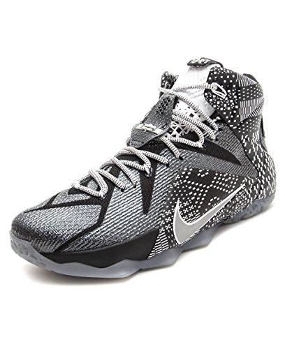 Amazon.com: Nike LeBron 12 BHM - Black/White/Metallic Silver - 718825-001 (9.5): Shoes
