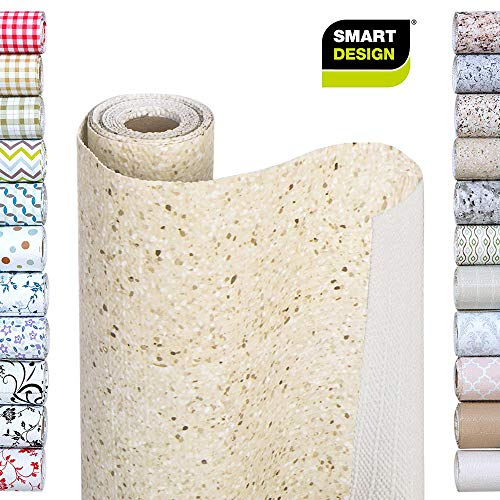 Smart Design Shelf Liner w/Bonded Grip - Wipes Clean - Cutable Material - Non Slip Design - for Shelves, Drawers, Flat Surfaces - Kitchen (12 Inch x 10 Feet) [Fleur Gris]