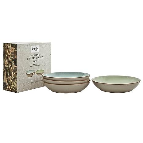 Denby 384044444 Juego de Cuencos para Pasta, cerámica, 4 Unidad