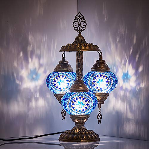 DEMMEX 2019 Stunning 3 Globe Turkish Moroccan Bohemian Table Desk Bedside Night Lamp Light Lampshade with North American Plug & Socket, 19 Inches (Blue Space)