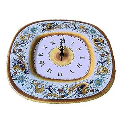 Orologio Quadro in Ceramica di Deruta Decoro Raffaellesco: Amazon.it ...