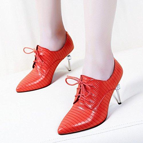 Damen Damenmode Leder High Heels Schuhe Bridal Riemchen Stöckelschuhe Stiletto Party Office Work Court Schuhe (schwarz Rot) Red