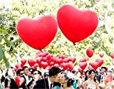 Heart Balloons ,18'' Over SIzed Helium Quality Heart shape Latex Balloons, wedding party decoration,anniversery , valentines decoration - Red, 50 Count