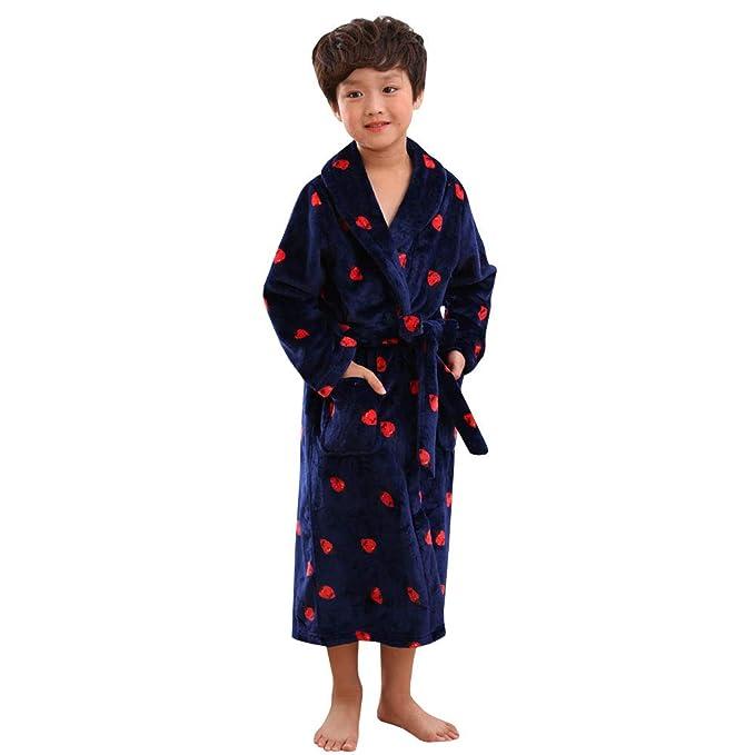 YFCH Albornoz de Franela Largo para Niños Niñas Bata de Ducha Pijama de Invierno Infantil: Amazon.es: Ropa y accesorios
