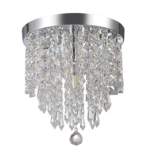 GXOK Modern Chandelier Crystal Ball Fixture Pendant Ceiling Lamp H9.84X W8.66IN [Ship from USA Directly]
