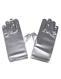 Women's Wrist Length Adult Size Satin Gloves, (Silver)