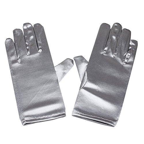 Silver Satin Gloves Wrist Length For Ladies (Silver) ()