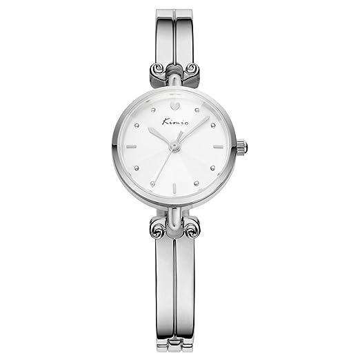 Wishor KIMIO belleza de aleación de pulsera reloj más forma única escala fresco hembra Fashion relojes plata: Amazon.es: Relojes