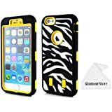 iPhone 6 Plus Case,3 IN 1 Combo Dual Layer Flex Zebra Hybrid Soft Silicone Hard PC Case Back Cover For Apple iPhone 6 Plus 5.5 inch With a Free Cleaning Cloth As a Gift (Yellow)