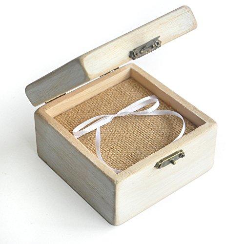 Custom Vintage Wedding Ring Box Shabby Chic Wood Rustic Wedding Rings Bearer Box by weddinghanger2015 (Image #2)
