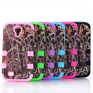 Straw Grass Mossy Camo caso de la cubierta dura híbrida del silicón para i9500 Samsung Galaxy S4 , Púrpula