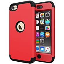 iPod Touch 5 Case, iPod 6 Case, Jwest Double Layer Cover [Hard Shield] + [Flexible Silicone] Armor Hybrid Case for Apple iPod 5th Generation / iPod 6th Generation [Impact Shock Resistant] - Red