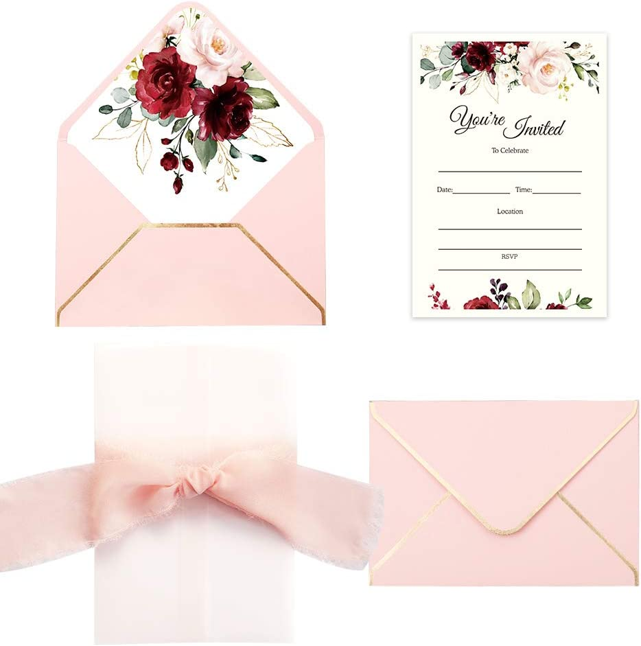 Doris Home 25pcs Fill in Invitations with Burgundy Rose Design, Pink Envelopes and Pink Ribbon for Wedding Bridal Shower Baby Shower Birthday Party