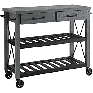 Crosley Furniture Roots Rack Industrial Rolling Kitchen Cart, Grey