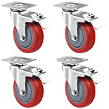 Hakka 4 Pack Swivel Caster Wheels Polyurethane Base with Top Plate & Bearing Heavy Duty 880LB(4 Inch With Brake)