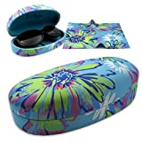 Rachel Rowberry Floral Sunglasses Case with eyeglass cleaning cloth in a unique Microfiber Smooth Finish | for Medium & Large frames (AS113 Pop Floral)