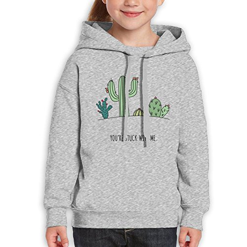You're Stuck With Me Like Cactus Big Boys Pullover Hoodie Patterns Print Youth Winter Athletic Sweaters Without Pocket