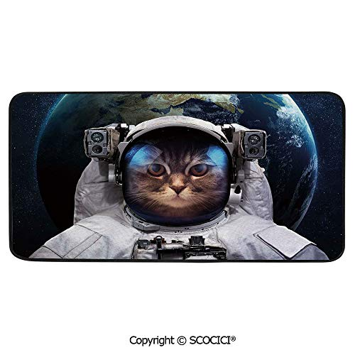 Rectangle Rugs for Bedside Fall Safety, Picnic, Art Project, Play Time, Crafts, Large Protective Mat, Thick Carpet,Space Cat,Astronaut Cosmonaut Suit Kitty with Planet Earth Backdrop,39
