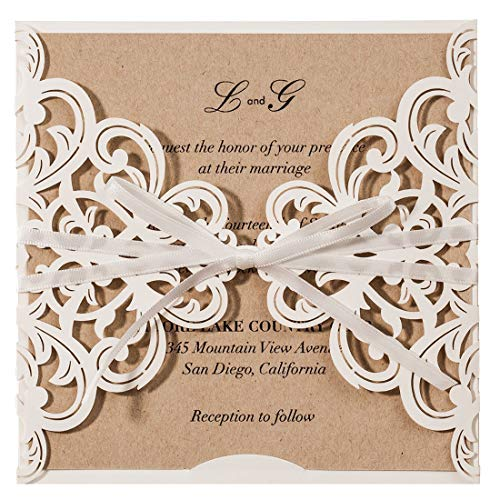 (WISHMADE Laser Cut Wedding Invitations Cards with Bowknot Square Lace Sleeve Engagement Cards for Birthday Party (50 Pieces, White))