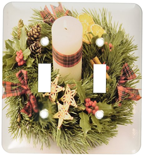 3dRose lsp_6205_2 Advent Wreath Double Toggle Switch, Multicolor