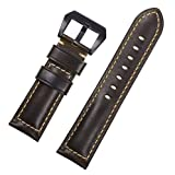 Izasky Watch Band Hot Sale Genuine Leather Popular Oil Waxed Leather Watch Strap for Men and Women (22mm, Green)
