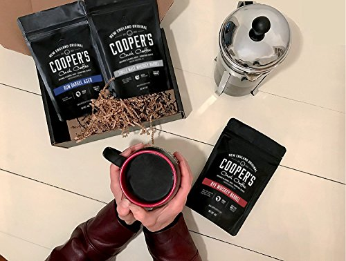 Whiskey & Rum Barrel Aged Coffee Whole Bean Box Set, 3 Bags Gift Box Set, Coffee Sampler Set - Single Origin Sumatra Whiskey, Ethiopian Rye, Rwanda Rum Roasted Coffee Beans, 12oz Total
