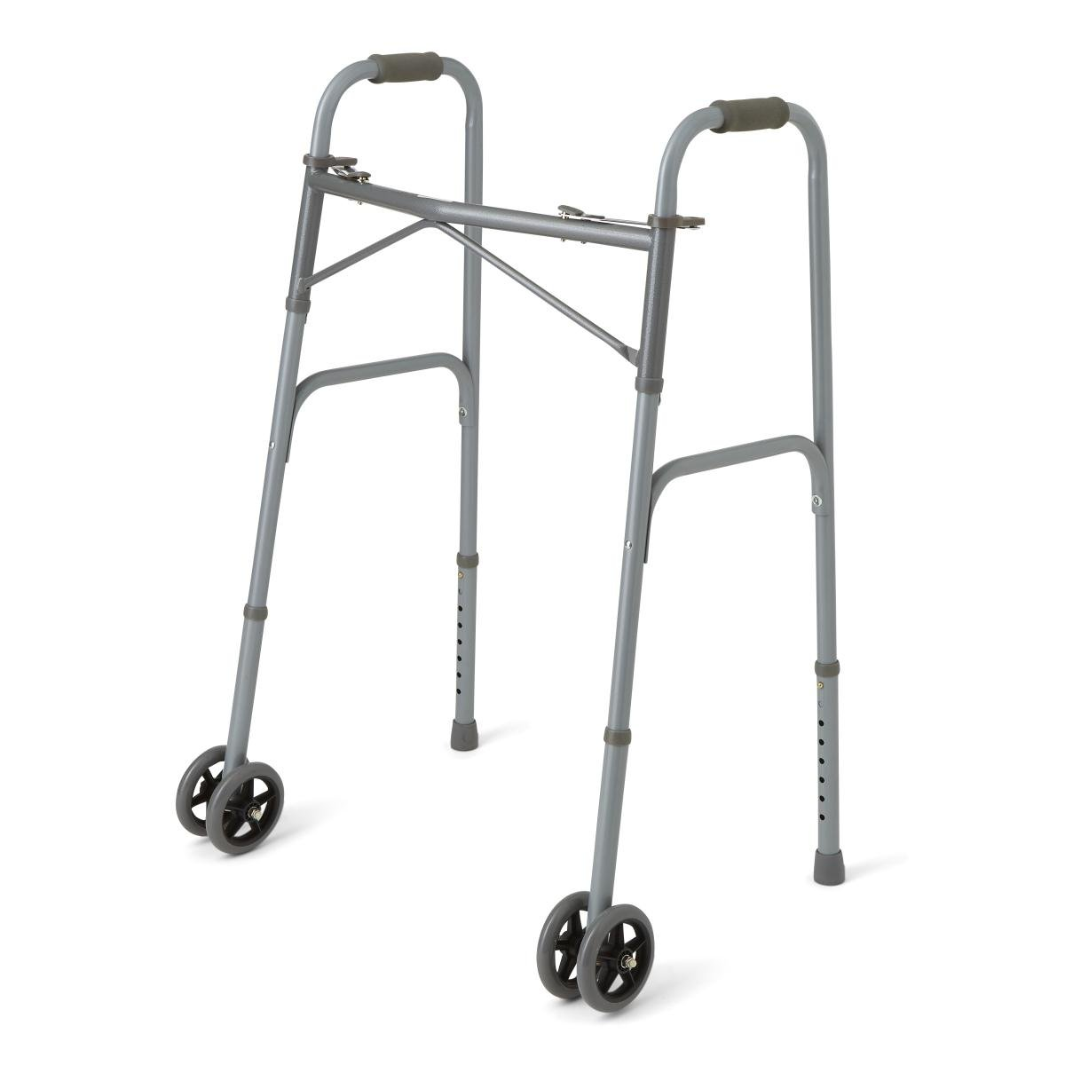 Guardian Heavy Duty Bariatric Extra Wide Folding Walker wtih 5'' Wheels, Supports up to 600 lbs, Comfort Foam Hand Grips